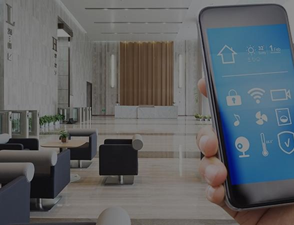 Smartphone screen with smart home controls inside a living room