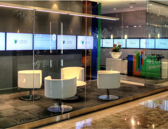 Digital signage screens at hotel lobby